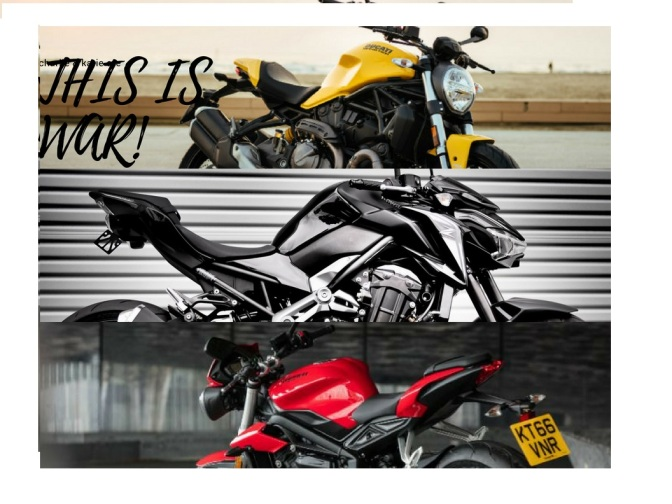Ducati Monster 821 vs Kawasaki Z900 vs Triumph Street Triple S – Specification Comparison
