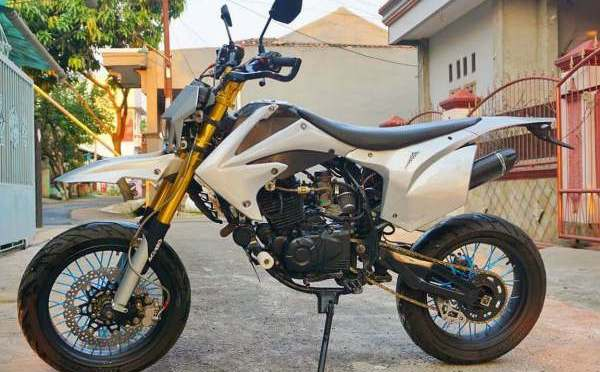 Bajaj Pulsar 220 modified to look like a Husqvarna Supermoto