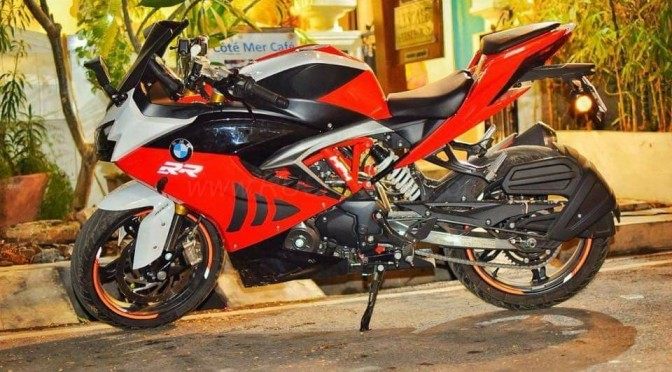 TVS Apache RR 310 modified to look like BMW S1000RR superbike